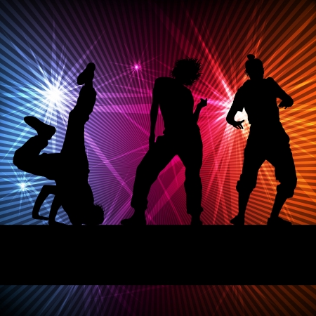 hip hop dance: Girl dance silhouette vector background concept for poster Illustration