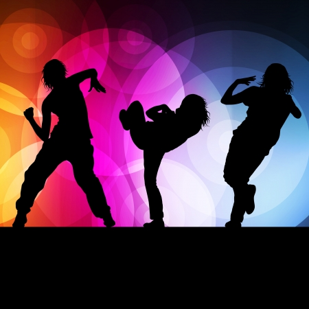 Girl dance silhouette vector background concept for poster Illustration