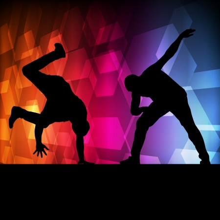 hip hop style: Boy dance silhouette vector background concept for poster Illustration