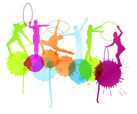 gymnastik: Mädchen mit Reifen Silhouette Vektor abstrakten Hintergrund Konzept mit Farbspritzer für Poster