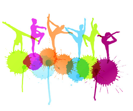 Dancers silhouette vector abstract background concept with ink splashes Illustration