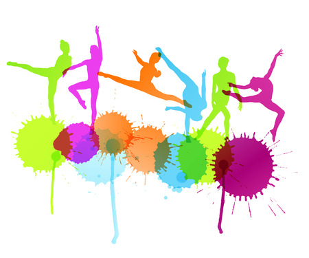 Dancers silhouette vector abstract background concept with ink splashes Иллюстрация
