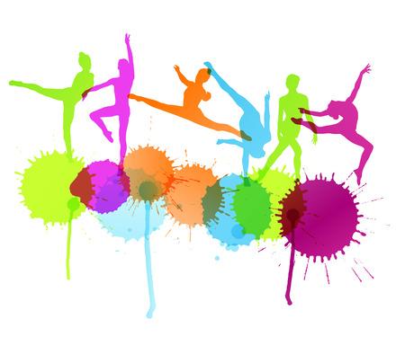 Dansers silhouet vector achtergrond concept met inkt spatten