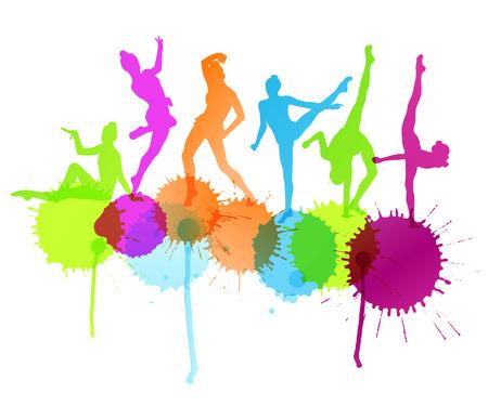 Bailarines silueta vector concepto abstracto de fondo con salpicaduras de tinta Vectores