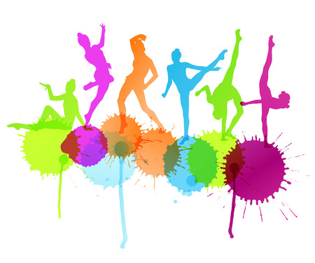 rhythmic gymnastic: Dancers silhouette vector abstract background concept with ink splashes Illustration