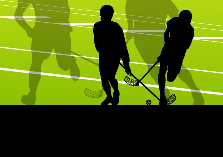 floor ball: Floor ball players active children sport silhouettes background illustration vector