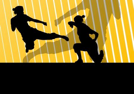 self defense: Artes marciales mujeres activas defensa combatientes siluetas ilustraci�n de fondo vector libre Vectores