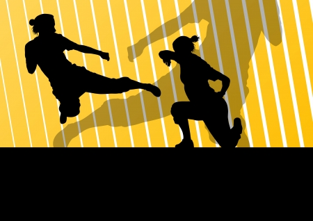 girl punch: Martial arts active women self defense fighters silhouettes illustration background vector
