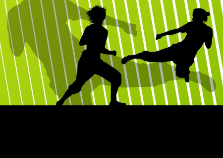 karate practice: Martial arts active women self defense fighters silhouettes illustration background vector