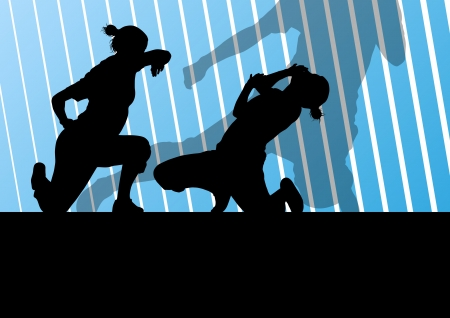 tough girl: Martial arts active women self defense fighters silhouettes illustration background vector