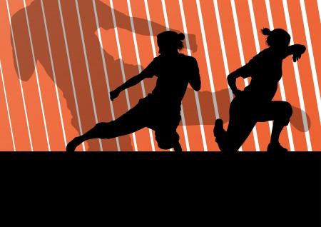 defensa personal: Artes marciales mujeres activas defensa combatientes siluetas ilustración de fondo vector libre Vectores