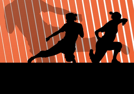 tough man: Martial arts active women self defense fighters silhouettes illustration background vector