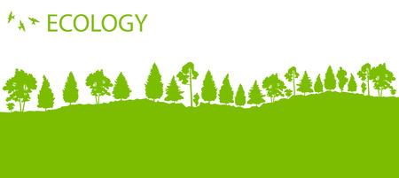 vida: Ecología concepto del árbol de ilustración vectorial fondo de la tarjeta del bosque detallada para el cartel