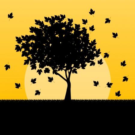 dode bladeren: Esdoorn herfst bladeren achtergrond vector landschap begrip Stock Illustratie