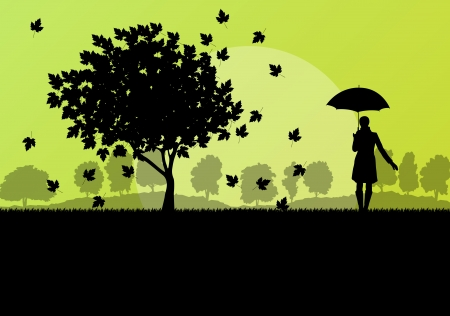 seasonable: Maple tree autumn leaves and girl with umbrella background vector landscape concept Illustration