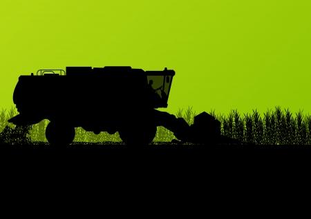 Agricultural combine harvester in grain field seasonal farming landscape scene illustration background vector Stock Vector - 22197239
