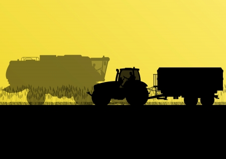 farmed: Agriculture tractor with corn trailer in cultivated country grain field landscape background illustration vector Illustration