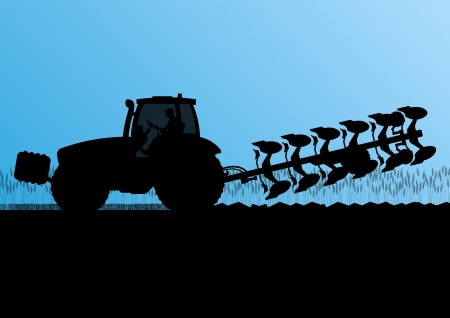 tillage: Agriculture tractor plowing the land in cultivated country grain field landscape background illustration vector