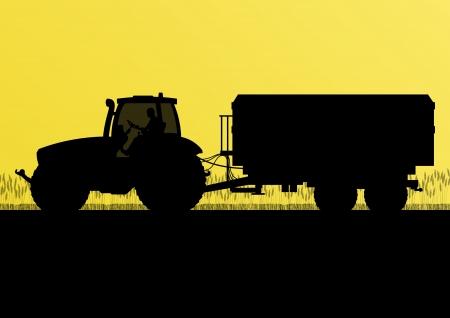 tillage: Agricoltura trattore con rimorchio grano coltivato nel paese del grano campo paesaggio di sfondo illustrazione vettoriale Vettoriali