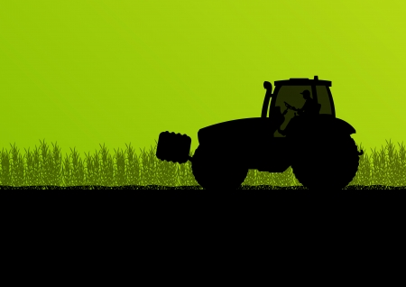 griculture tractors in cultivated country field landscape background illustration vector Vector