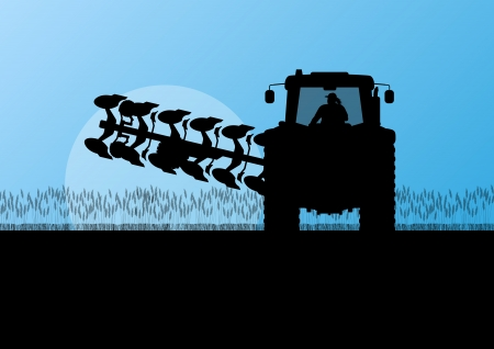 Agriculture tractor plowing the land in cultivated country grain field landscape background illustration vector Stock Vector - 22197245