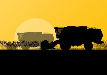 produits céréaliers: Agricole moissonneuse-batteuse dans un champ scène illustration vecteur de fond de paysage agricole saisonnier des grains