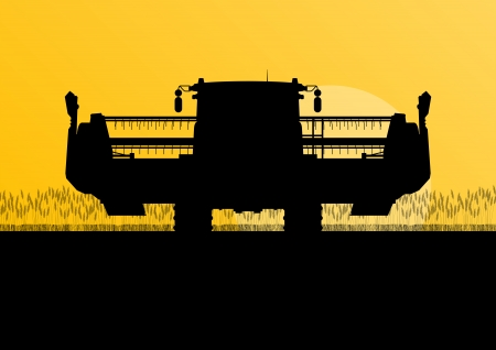 Landwirtschaftliche Mähdrescher-Erntemaschine im saisonalen Landwirtschaftslandschaftsszenen-Illustrationshintergrundvektor des Getreidefeldes