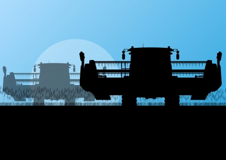 Agricultural combine harvester in grain field seasonal farming landscape scene illustration background vector