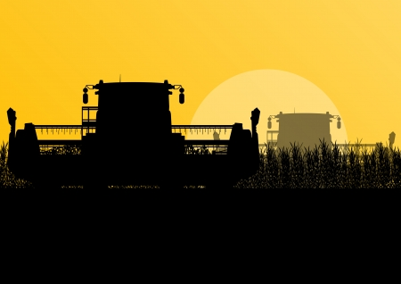 Agricultural combine harvester in grain field seasonal farming landscape scene illustration background vector Stock Vector - 22197249