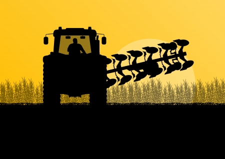 farmed: Agriculture tractor plowing the land in cultivated country grain field landscape background illustration vector