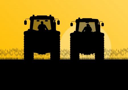labranza: tractores GRICULTURA cultivada en campo país paisaje de fondo ilustración vectorial Vectores