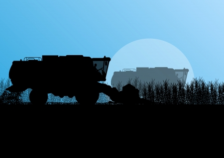 Agricultural combine harvester in grain field seasonal farming landscape scene illustration background vector Stock Vector - 22197253