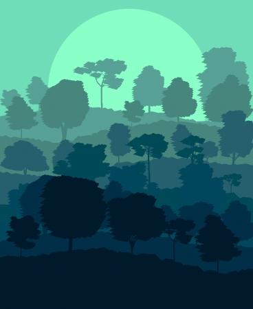 cedar: Mystical forest vector background landscape concept for poster Illustration