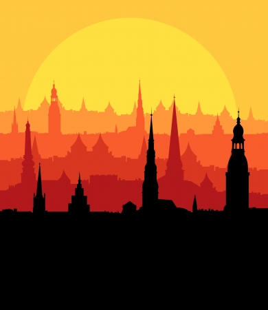 Sunset landscape vector: City landscape vector background in evening sunset for poster