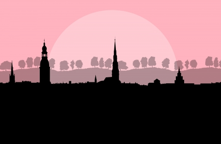 City landscape vector background in evening sunset for poster Stock Vector - 22197264
