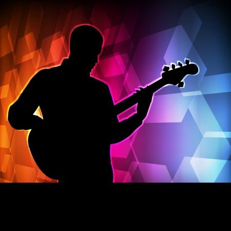 musicos: Guitar player vector del concepto del fondo para el cartel Vectores