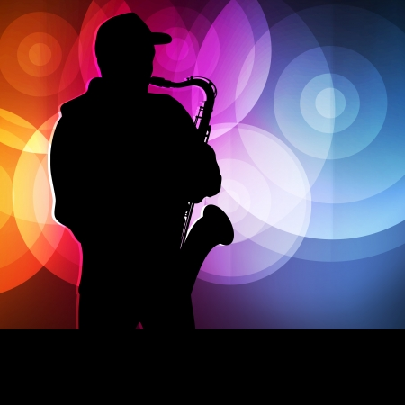 african sax: Saxophone player vector background neon concept for poster