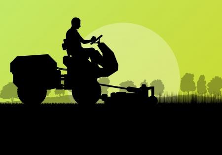 Grasmaaier snijden gras vector achtergrond landschap voor poster Stock Illustratie