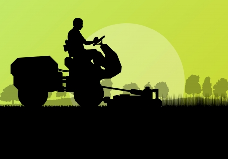 mower: Lawn mower cutting grass vector background landscape for poster Illustration