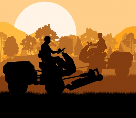 lawn mowing: Lawn mower cutting grass vector background landscape for poster Illustration