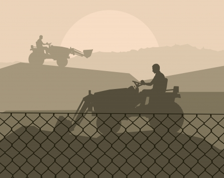 heavy machinery: Front loader vector abstract background concept for poster