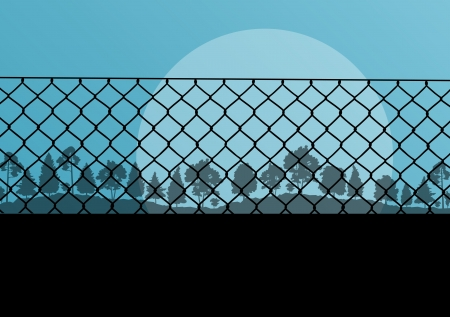 Wired fence and forest vector abstract background concept for poster Vector
