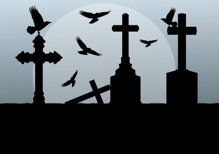 siting: Halloween spooky graveyard, cemetery vintage background with grave crosses and raven