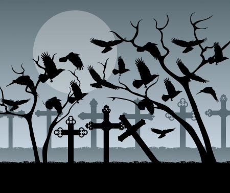 Halloween spooky graveyard, cemetery vintage background with grave crosses and raven Vector