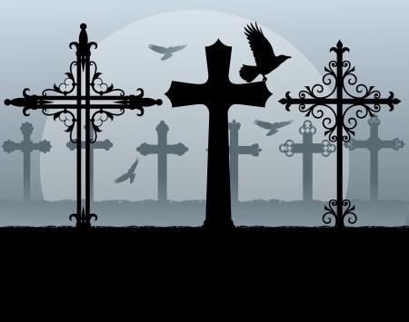 tumbas: Cementerio fantasmagórico Halloween, cementerio de fondo de la vendimia con graves cruces y cuervo Vectores