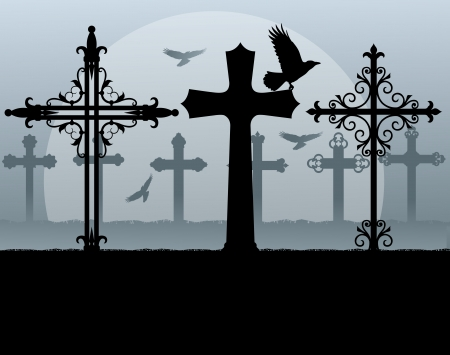 cemetery: Halloween spooky graveyard, cemetery vintage background with grave crosses and raven