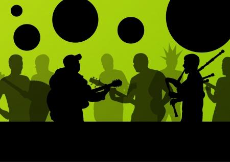 manos aplaudiendo: Concierto de rock diversos músicos paisaje de fondo ilustración vectorial