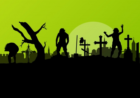 spooky graveyard: Halloween spooky graveyard, cemetery vintage background with grave crosses and raven