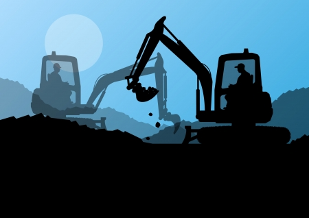 digging: Excavator loaders and workers digging at construction site with raised bucket vector background Illustration