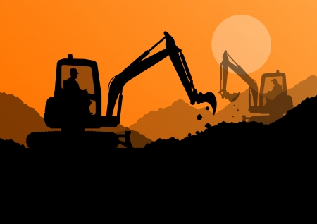 Excavator loaders and workers digging at construction site with raised bucket vector background Stock Vector - 22197306